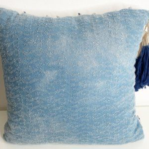 Decorative texture pillow with tassels at 1 Corner